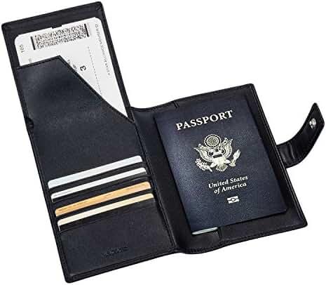Passport Holder - Travel Document Holder Genuine Leather Rfid Blocking Wallet Passport Cover Case by BESTKEE