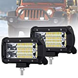 Liteway 5inch 2x 120w CREE LED Light Bar Flood Beam Fog Lights Waterproof Driving Work Light Off Road Daytime Running Light for SUV UTV ATV Truck 4WD, 1 Year Warranty