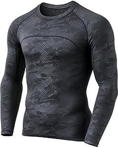 CQ-HUD304-CHC_X-Large CQR Men's Thermal Wintergear Compression Baselayer Long Sleeve Shirt HUD304