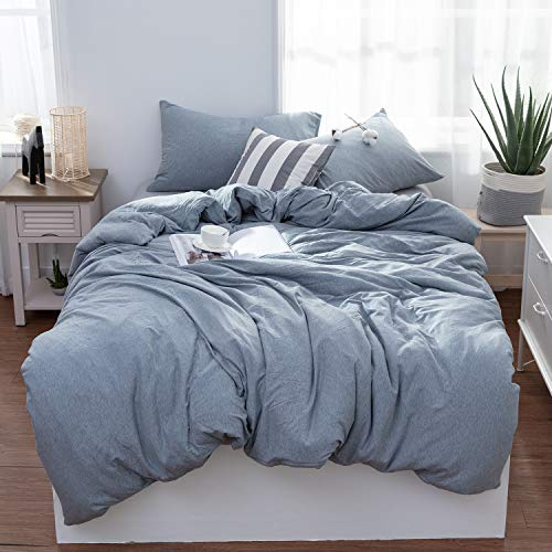LIFETOWN 100% Jersey Knit Cotton Duvet Cover Set 3 Pieces, 1 Duvet Cover + 2 Pillow Cases, Simple Solid Design, Super Soft and Easy Care (Full/Queen, Bluish Gray)