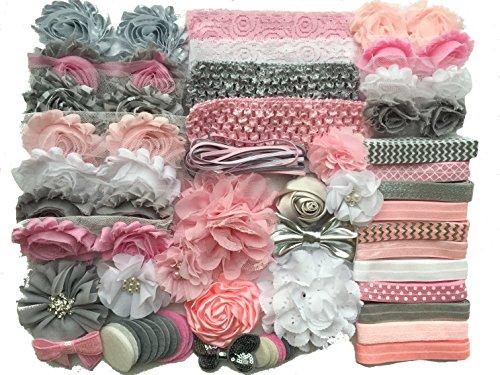 Bowtique Emilee Baby Shower Headband Kit DIY Headband Kit makes 30 Headbands - Pink and Grey -
