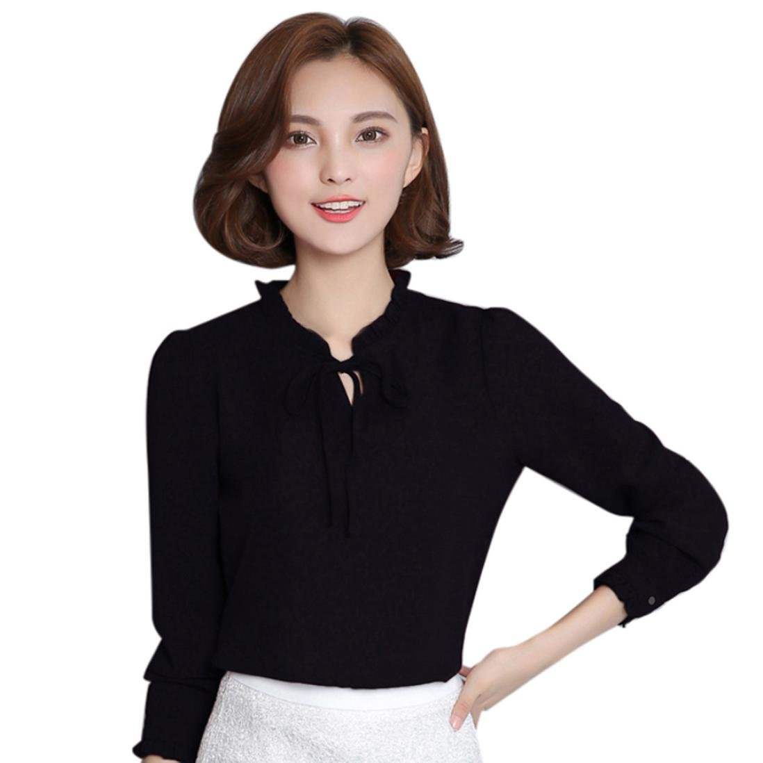 b7baacffb74949 Hot Sale 2018! Women s Casual Chiffon Tie-Bow Neck Long Sleeve Slim Fit  Work Office Tops Blouse at Amazon Women s Clothing store