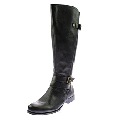 Naturalizer Women's Jordie Leather Riding Boot, Wide Calf, Black 4.5 ...