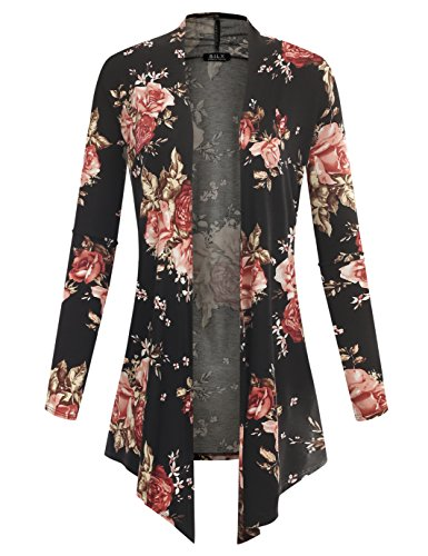 Price comparison product image B.I.L.Y BILY Women's Open Front Drape Hem Light Weight Cardigan Floral Printed Black 1 Small