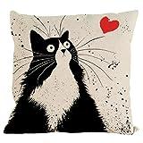 Ikevan Hot Selling Pillowcase Vintage Cat Dog Cotton Pillow Case Sofa Waist Throw Cushion Cover Home Decor 18x18 Inch (04)