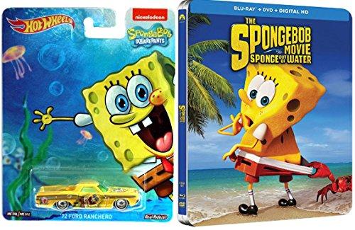SpongeBob Movie Steelbook DVD + Blu Ray & Hot Wheels Pop Culture car Exclusive Sponge Out of Water (Spongebob Superhero Movie)