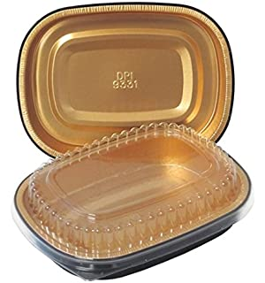 Durable Packaging Black and Gold Pan with Lid, Small (Pack of 100)