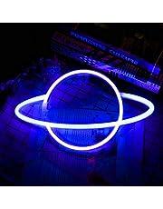 HITECHLIFE Planeet neonlicht,Blauw Roze Planet Neon Signs Light up Art Wall Decor Light-Waterdicht LED-nachtlampje -Batterij of USB-aangedreven planeetlamp voor Kerst verjaardagsfeestje kinderkamer
