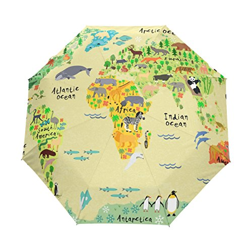 Animals Map Automatic Umbrella Auto Open Close Folding Windproof Foldable for Men Women Kids