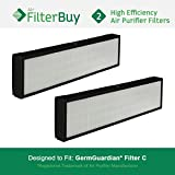 2 - GermGuardian Filter C, Part # FLT5000 & FLT5111, HEPA Air Purifier Filters. Designed by FilterBuy to fit GermGuardian AC5000 Series Air Cleaning System.