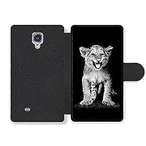 Cute Lion Cub Black & White Funda Cuero Sintético para Samsung Galaxy S4