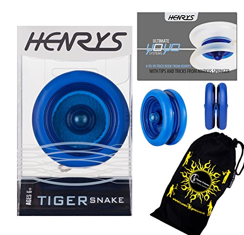 Henrys TIGER SNAKE YoYo (Blue) Professional Looping Trick (2A) Bearing YoYo with AXYS system +Instructional Booklet of Tricks & Travel Bag! Pro YoYos For Kids and ()