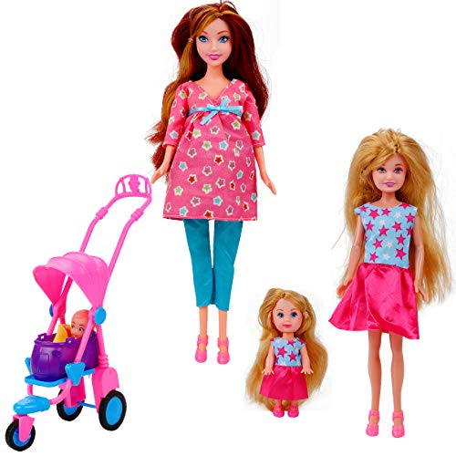 Liberty Imports Happy Family Welcome Baby 11.5-Inch Pregnant Doll with Teen, Daughter, Newborn, Stroller and Accessories (22 Pieces)