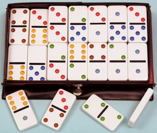 Spot Domino - Dominoes-double six, plastic with coloured spots- 00117 by A Kent & Cleal game