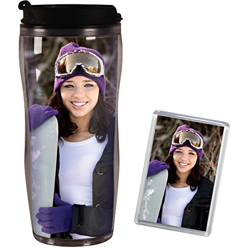 PixMug - Photo Travel Mug - The Mug That's A Picture Frame - DIY - Insert your own photos or designs - 14 oz with flip top - Bonus PixMag Photo Magnet