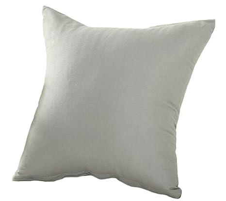 Vi.yo Funda de cojín para sofá, color puro, funda de cojín, funda de almohada para coche, dormitorio, sala de estar, algodón, gris, 40 x 40 cm