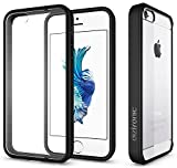 iPhone SE Case, Diztronic Voyeur Series, Soft Touch TPU Phone Bumper Frame & Hard PC Back Cover Window with Anti-Scratch Coating for Apple iPhone 5 / 5S / SE - Matte Black & Crystal Clear