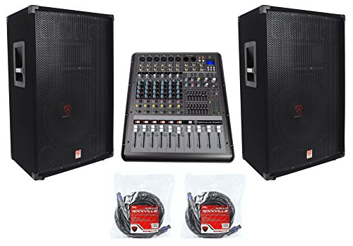 2) Rockville RSG15 15 3-Way 3000w DJ/Pro Audio PA Speakers+Powered Mixer+Cables (Pre Amp Dj Speakers)