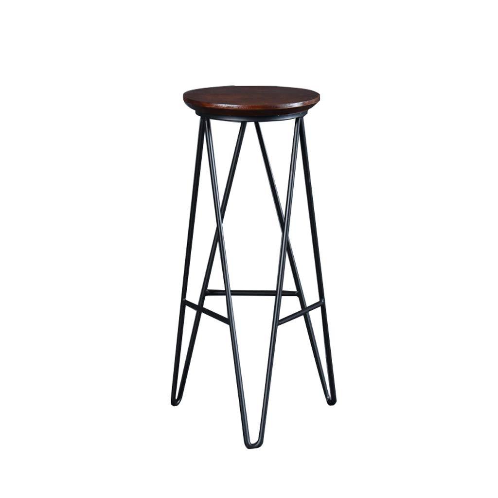 Black Nevy bar Chair High Stool Barstool Chair Reception Chair High Chair Solid Wood Iron bar Chair (Width 30cmX Height 75cm) (color   Black)