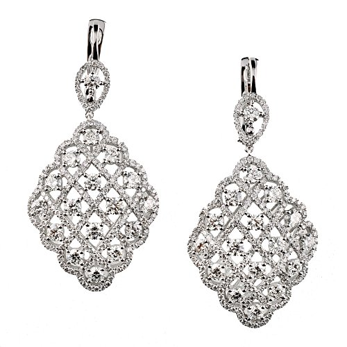 D'sire 18k White Gold Diamond Dangling Fine Earrings Jewelry for Women TDW 6.193 carats