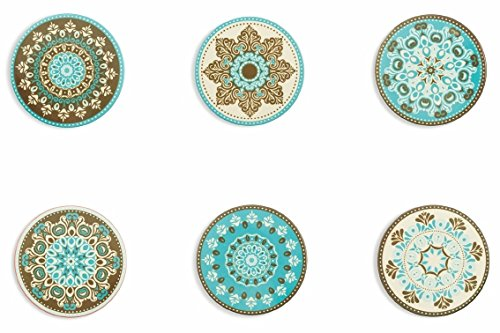 4inch PBELE 4X Ceramic Coasters with Cork Absorbent Stone Bohemia Style Coffee Drink Cup Mat Style-4pcs