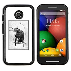 LECELL--Funda protectora / Cubierta / Piel For Motorola Moto E -- cuervo dibujo negro dibujo pájaro blanco --