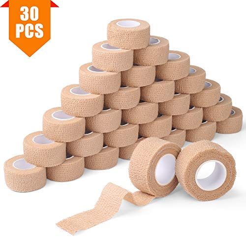 30 Pack Cohesive Bandage, 1 Inch x 5 Yards, Self Adherent Wrap, First Aid Tape, Elastic Wrap, Sports Tape, Medical Supplies, Athletic Tape for Ankle Sprains and Swelling