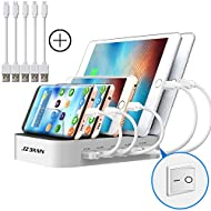 JZBRAIN Station de Charge USB avec Interrupteur Chargeur USB Multiple avec 5 Ports USB de recharge - 40W 5V8A Support de Charge pour Apple iPad iPhone Samsung Smartphones Tablettes, 5 Câbles inclus, Blanc