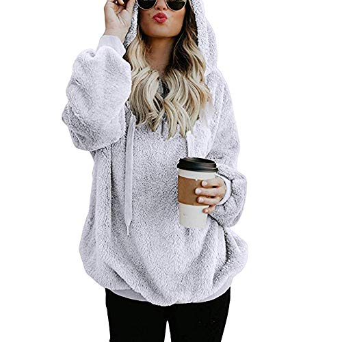 2019 Women Hooded Sweatshirt Coat,Ladies Winter Warm Wool Zipper Pockets Cotton Outwear (S, White)