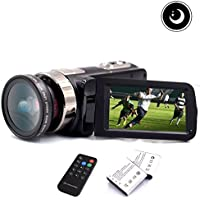 2017 HD 1080P Night Vision Infrared Camera Camcorder, Remote Control Handy Camera, 3.0 LCD 270 Degree Rotation Touch Screen with 24MP 16X Digital Zoom Video Camcorder