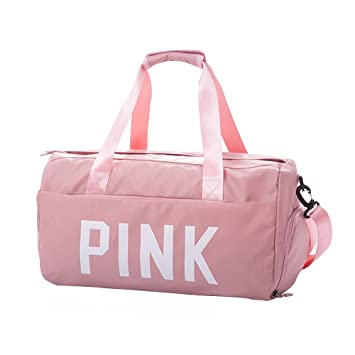 4924eaae4168 Gym Bag for Women with Shoes Compartment and Dry Wet Pocket, Waterproof  Travel Weekender Sports Workout Duffel Swim Pink Gym Bag