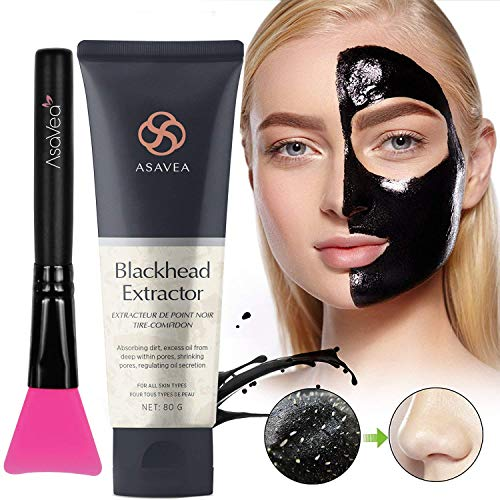 AsaVea Black Peel Off Mask with Brush,Blackhead Remover Charcoal Blackhead Remover, Deep Cleansing, Pore Shrinking, Acne and Oil Control, Anti Aging 80 gram