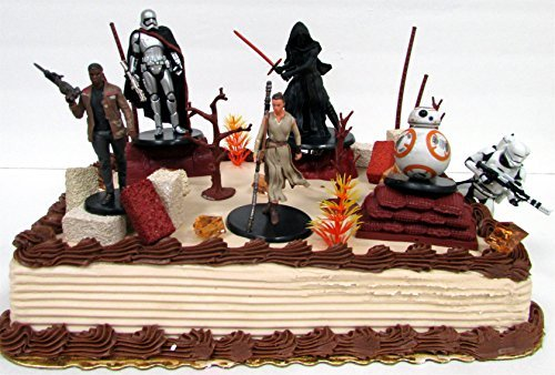 (STAR WARS Jakku Planet Themed 20 Piece Birthday Cake Topper Featuring 6 Star Wars Figures and Decorative Themed Accessories)