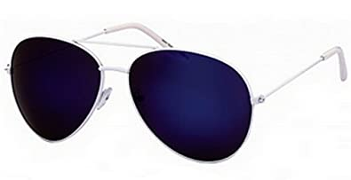 blue tinted aviator sunglasses  New Blue Mirrored Lens Aviator Sunglasses Dark Tint White Frame ...