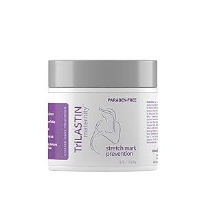 TriLASTIN Maternity Stretch Mark Prevention Cream, Unscented, 4 fl oz. - Hypoallergenic, Paraben-Free Formula