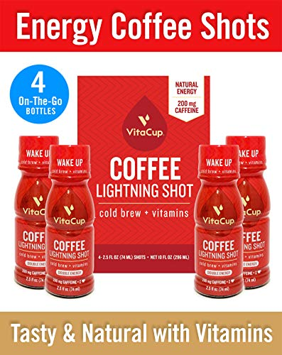 VitaCup Lightning Cold Brew Infused Coffee Shots [4 Pack] 200 mg Double Caffeine from Green Coffee Bean | 2.5 oz Ready to Drink High Energy Boost with Vitamins B1, B5, B6, B9, B12, D3 (Cold Brew)