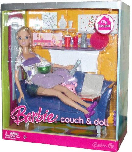 Barbie My House 12 Inch Fashion Doll - Couch and Doll with Barbie Doll, Furnitures, Plus Lots of Accessories