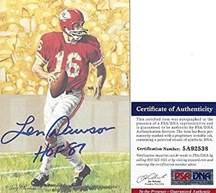 1ed753894 Len Dawson Autographed Goal Line Art Card GLA w