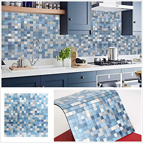 HomeyStyle Peel and Stick Tile Backsplash for Kitchen Wall Decor Aluminum Surface Metal Mosaic Tiles Sticker,Silver&Blue Plaid 12