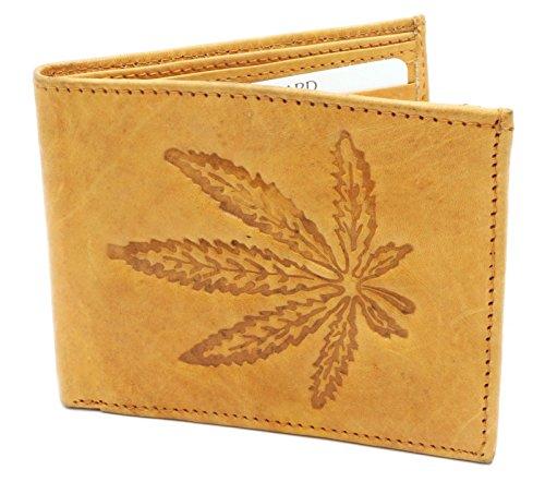 Bifold-Genuine-Leather-Beige-Wallet-with-Marijuana-Leaf-Embossed-Design