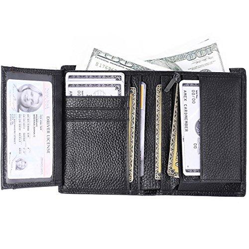IVESIGN Mens Genuine Leather Wallet Travel Wallet RFID Blocking Credit Card Holder Front Pocket Brown(Trifold)/Black(Bifold) (Black(Bifold)) (Front Slot Pocket)