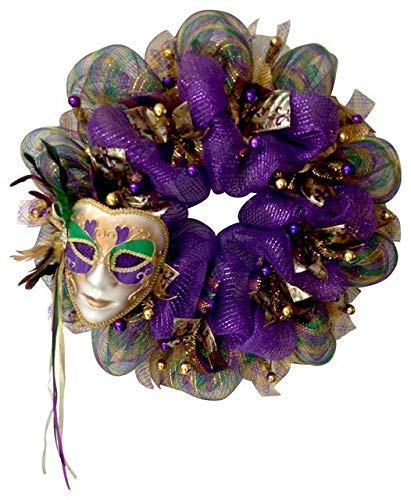 Mardi Gras Wreath Feather Venetian Mask Handmade Deco Mesh -