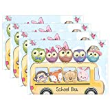 Cooper girl Owl Back School Placemat Heat Resistant Washable Mat 12x18 Inch for Kitchen Dining Table