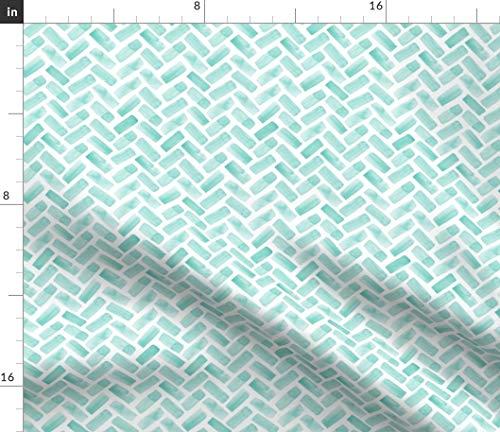 Watercolor Fabric - Trendy Herringbone Chevron Teal Spring Littlearrow Print on Fabric by The Yard - Sport Lycra for Swimwear Performance Leggings Apparel - Herringbone Trendy