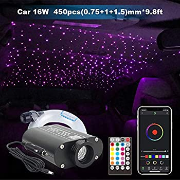 Image of Car Use Bluetooth 16W LED RGBW Fiber Optic Star Ceiling Light, APP/Remote Music Mode Headliner Light Kit Mixed 450pcs(0.03in+0.04in+0.06in)9.8ft Home Improvements