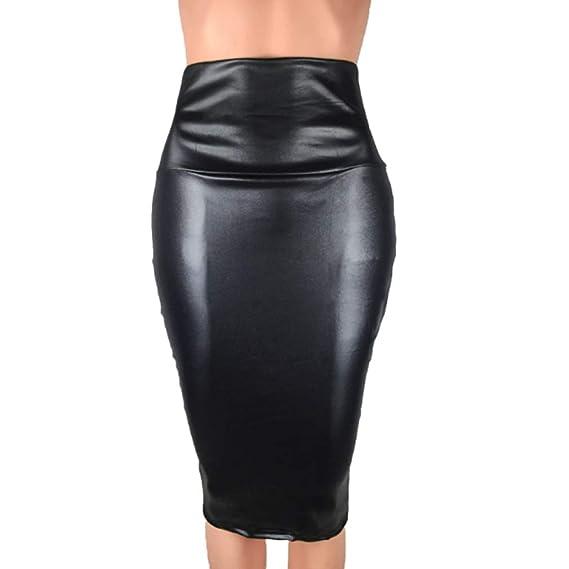 LIGHTBLUE Falda de Piel sintética para lápices, Falda de hasta la ...