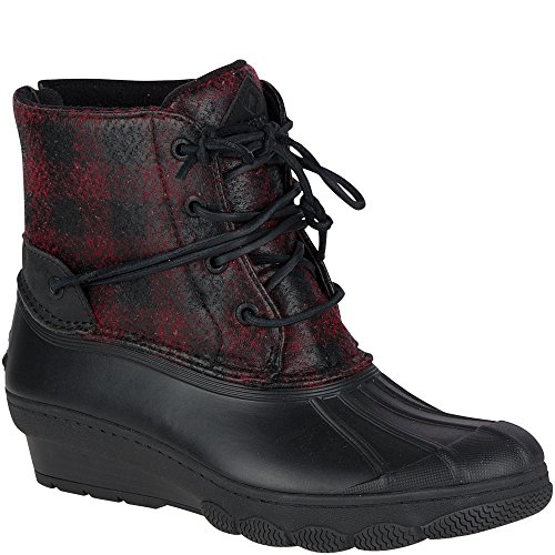Sperry Top-Sider Women's Saltwater Wedge Tide Wool Rain Boot, Black/Red/Buffalo Plaid, 8 Medium (Buffalo Plaid Boot)