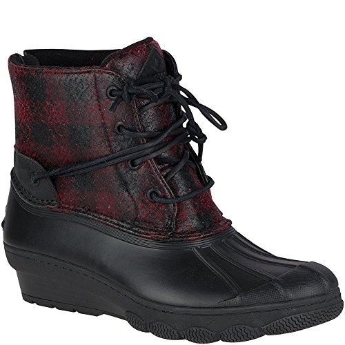 Sperry Top-Sider Women's Saltwater Wedge Tide Wool Rain Boot, Black/Red/Buffalo Plaid, 8 Medium (Plaid Womens Boots)