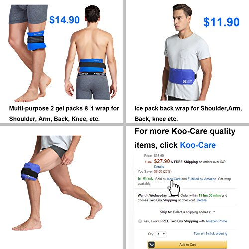 Koo-Care Large Flexible Gel Ice Pack & Wrap with Elastic Straps for Hot Cold Therapy - Great for Sprains, Muscle Pain, Bruises, Injuries - 11'' x 14'') by Koo-Care (Image #8)