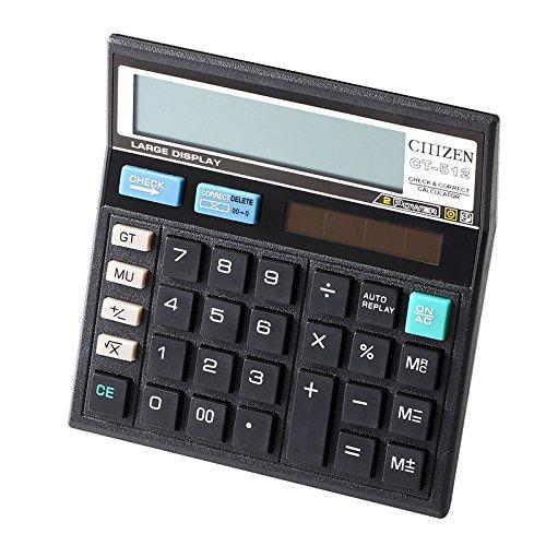 Black 12 digits Office calculator computer keys computer Solar Calculator CT-512